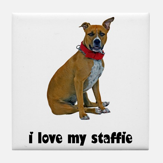 I Love My Staffie Tile Coaster