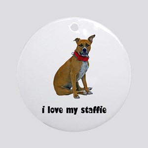 I Love My Staffie Ornament (Round)