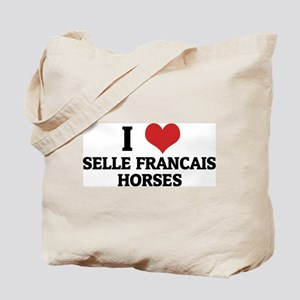 I Love Selle Francais Horses Tote Bag