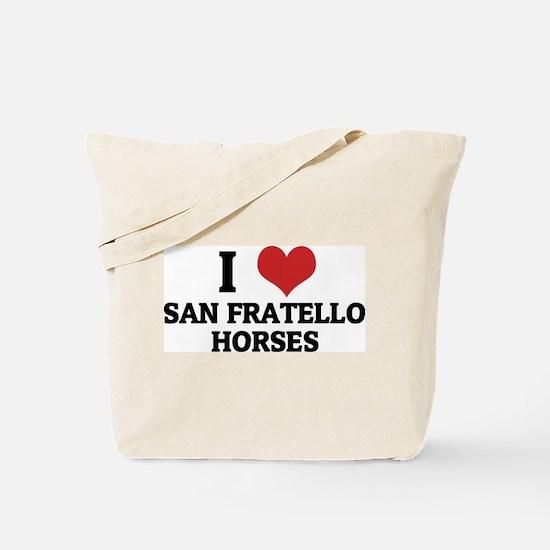 I Love San Fratello Horses Tote Bag
