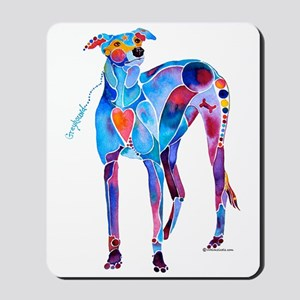 Greyhound with Heart Mousepad