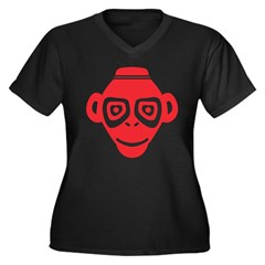 Monkey Women's Plus Size V-Neck Dark T-Shirt