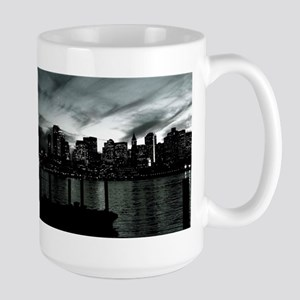 Boston at Night B&W Photo Large Mug