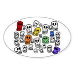 Rainbow Skulls Sticker (Oval)