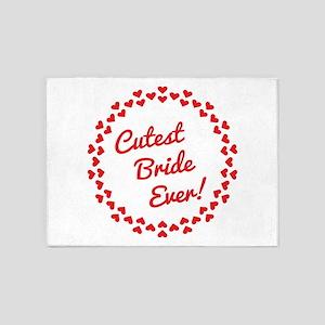 Cutest Bride Ever! Wedding Bachelor 5'x7'Area Rug