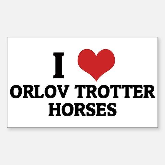 I Love Orlov Trotter Horses Rectangle Decal