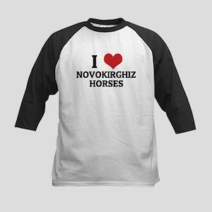 I love Novokirghiz Horses Kids Baseball Jersey