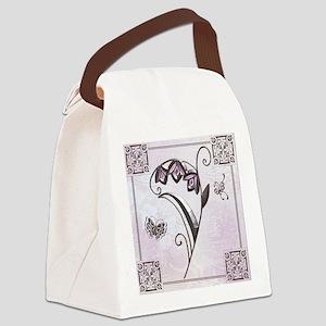 Harvest Moons Art Deco Flower Canvas Lunch Bag