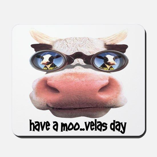 Have a Moo-velas Day Cow in Sunglasses Mousepad
