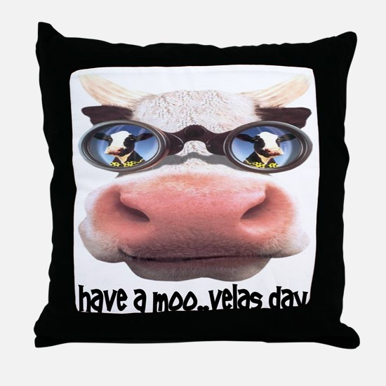 Have a Moo-velas Day Cow in Sunglasses Throw Pillo