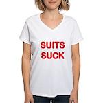 Suits Suck Women's V-Neck T-Shirt