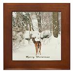 Deer in Winter Framed Tile