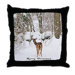 Deer in Winter Throw Pillow