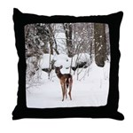 Deer in Winter Throw Pillow