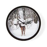 Deer in Winter Wall Clock