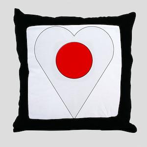 Japan Heart-Shaped Flag Throw Pillow