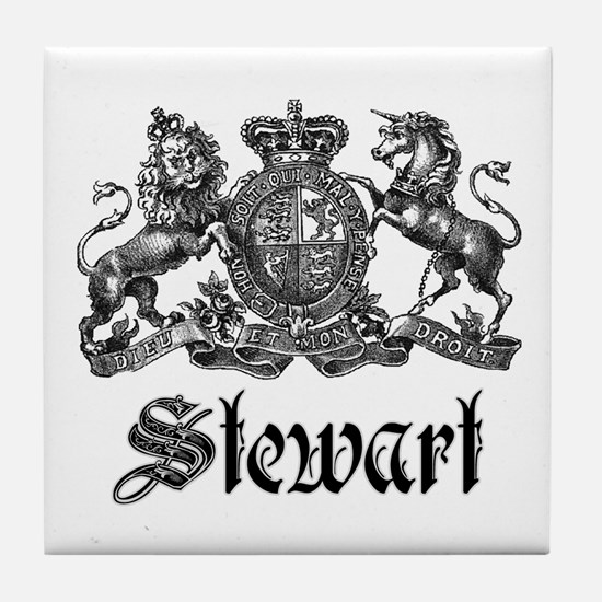 Stewart Vintage Crest Family Name Tile Coaster