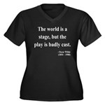 Oscar Wilde 5 Women's Plus Size V-Neck Dark T-Shir