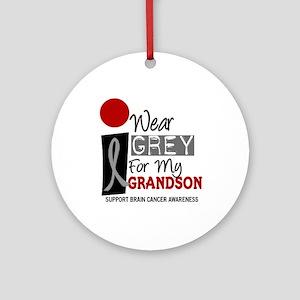 I Wear Grey For My Grandson 9 Ornament (Round)