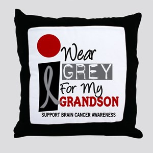I Wear Grey For My Grandson 9 Throw Pillow