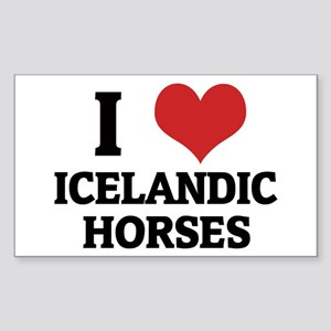 I Love Icelandic Horses Rectangle Sticker