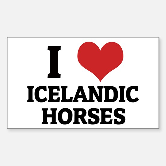 I Love Icelandic Horses Rectangle Decal