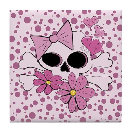 Girly Punk Skull Tile Coaster