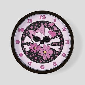 Girly Punk Skull Wall Clock