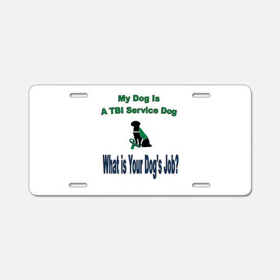 I'm a TBI service dog Aluminum License Plate