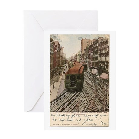 Vintage Chicago Elevated Railroad Greeting Card