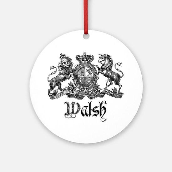 Walsh Vintage Crest Last Name Ornament (Round)