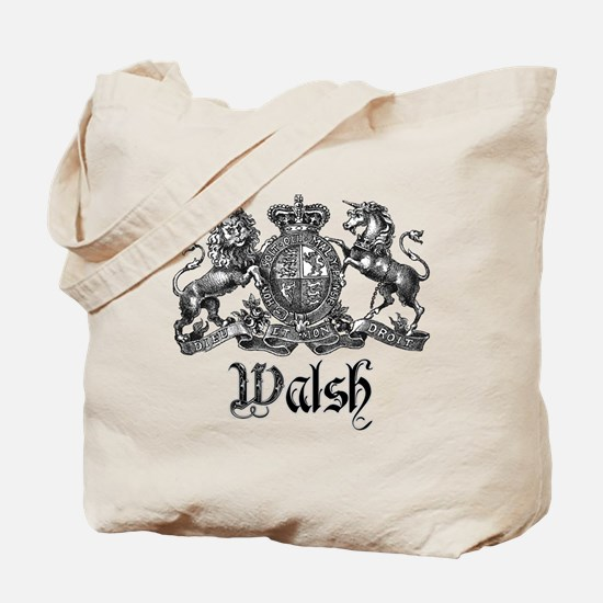 Walsh Vintage Crest Last Name Tote Bag