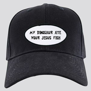 Dinosaur Eats Jesus Fish Black Cap