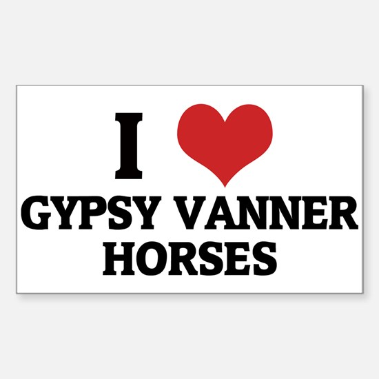 I Love Gypsy Vanner Horses Rectangle Decal