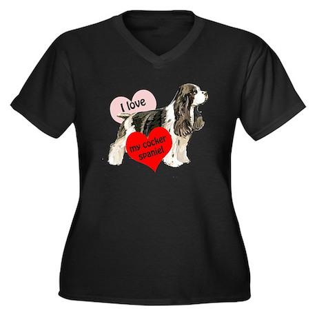 cocker spaniel love Women's Plus Size V-Neck Dark