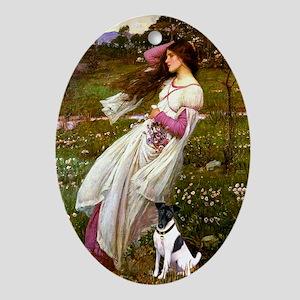 Windflowers & Fox Terrier Oval Ornament