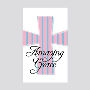 Amazing Grace Cross Rectangle Sticker