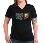 Thomas Jefferson 16 Women's V-Neck Dark T-Shirt