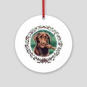 Chocolate Lab Holiday Ornament (Round)