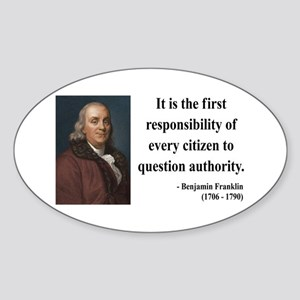 Benjamin Franklin 17 Oval Sticker