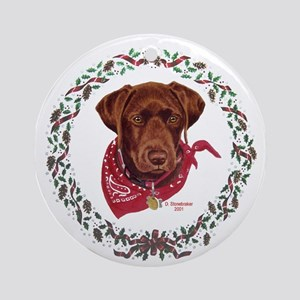 Chocolate Labrador Holiday Ornament (Round)