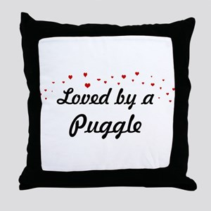 Loved By Puggle Throw Pillow