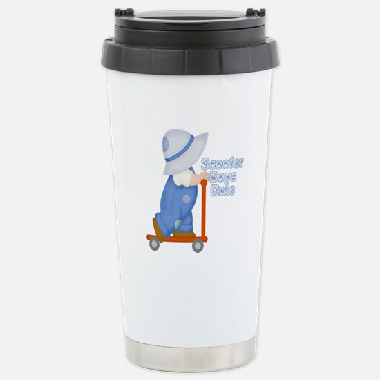 Little Scooter Boy Stainless Steel Travel Mug