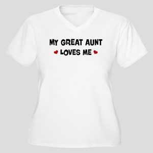 Great Aunt loves me Women's Plus Size V-Neck T-Shi