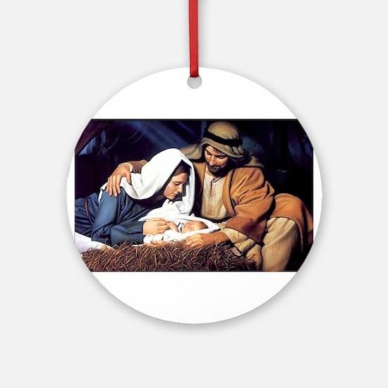 Christmas Jesus Birth Stable Ornament (Round)