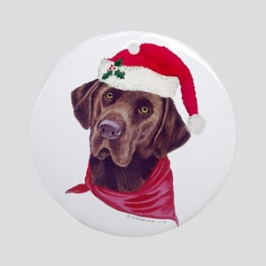 Chocolate Labs in Santa Hats Ornament (Round)