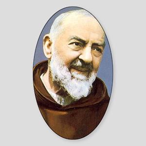 Padre Pio Oval Sticker