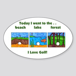 I Love Golf Oval Sticker