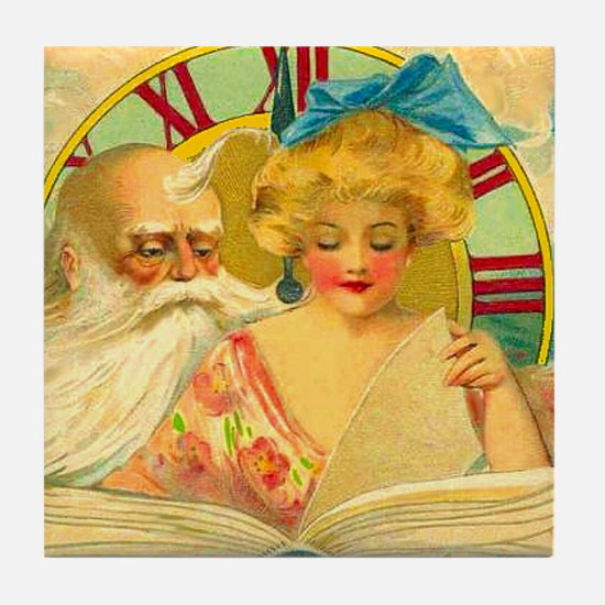 New Year Father Time Art Tile Wall or Coaster