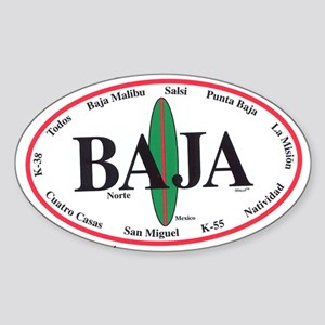 Baja Norte Surf Spots Oval Sticker